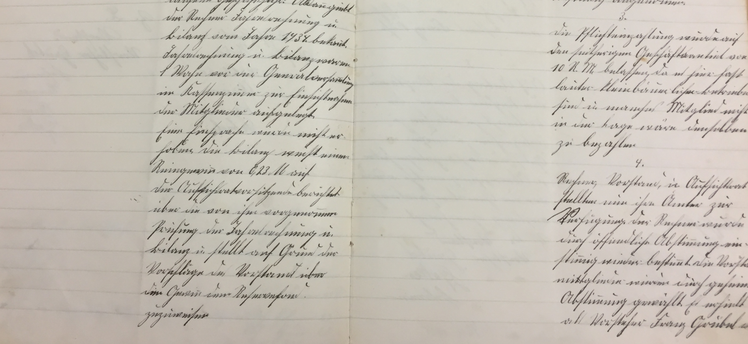 Abbildung: Auszug aus dem Protokollbuch der Spar- und Darlehnskasse Sindeldorf eGmuH (1935) (Quelle: Archiv der RBKJ).